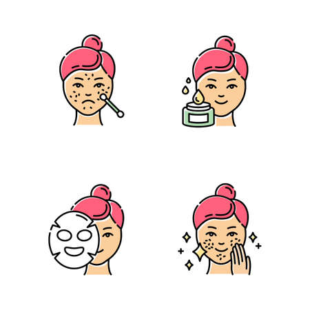 Skin care procedures color icons set. Spot treatment for blackheads. Problematic skin. Applying sheet cotton mask. Using beauty water. Dermatology, cosmetics, makeup. Isolated vector illustrations Stockfoto