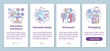 Software development onboarding mobile app page screen with linear concepts. UX designing, prototyping walkthrough 4 steps graphic instructions. UX, UI, GUI vector template with illustrations 版權商用圖片