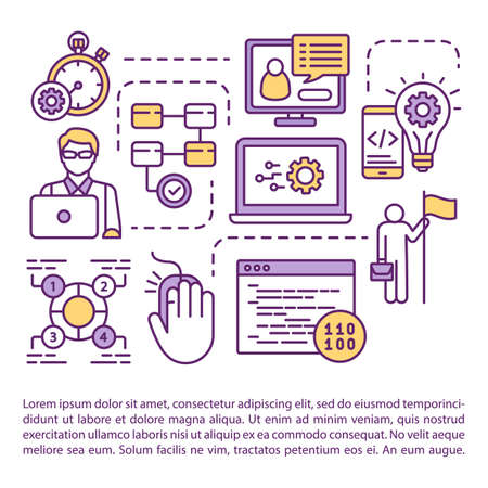 Software testing roles article page vector template. IT Analyst. Technical analysis. Brochure, magazine, booklet design element with linear icons. Print design. Concept illustrations with text