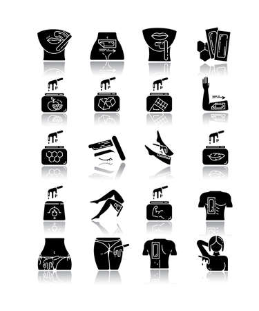 Waxing drop shadow black glyph icons set. Hair removal procedure. Cold, hot wax in jar with spatula. Depilation equipment. Professional beauty treatment cosmetics. Isolated vector illustrations Archivio Fotografico - 133494963