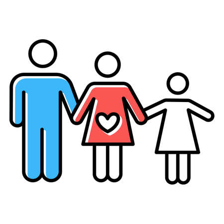 Family planning color icon. Husband and wife raising child. Loving mother and father with happy daughter. Healthy spousal relationship. Kid with parents. Isolated vector illustration