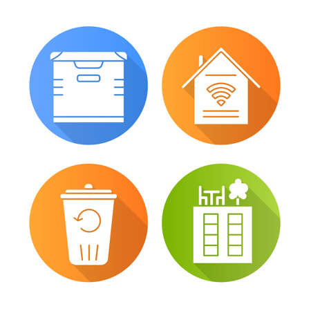 Apartment amenities flat design long shadow glyph icons set. Smart home features, storage, recycling service, rooftop deck. Property conveniences for renters. Vector silhouette illustration Banco de Imagens