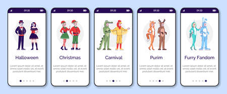 People dressed in animal costumes onboarding mobile app screen vector template. Holiday clothing for rent. Walkthrough website steps, flat characters. UX, UI, GUI smartphone cartoon interface concept 版權商用圖片