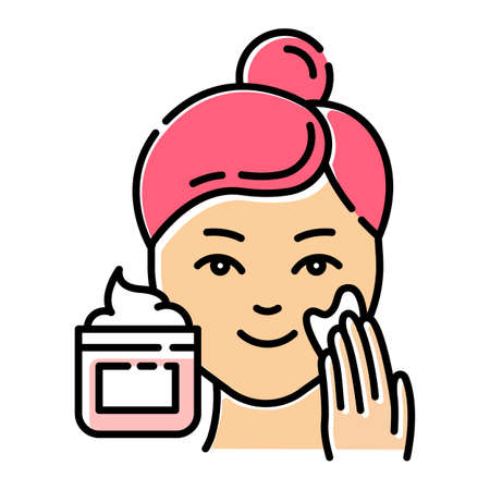 Applying cream color icon. Skin care procedure. Facial beauty treatment. Face product for lifting and exfoliating effect. Dermatology, cosmetics, makeup. Isolated vector illustration