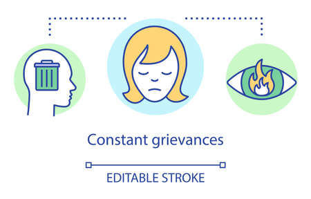 Constant grievances concept icon. Relationship trouble, holding grudge idea thin line illustration. Head with trash, sad woman face and flaming eye vector isolated outline drawing. Editable stroke