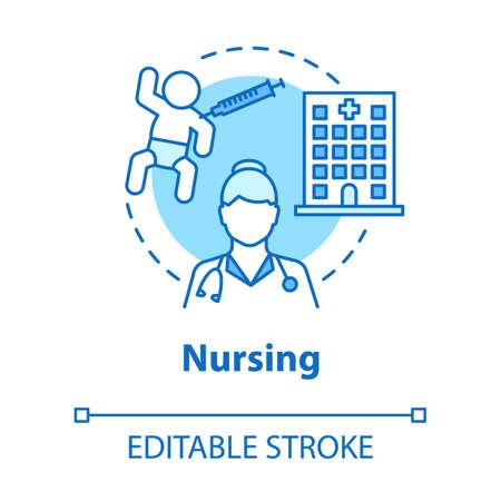 Nursing concept icon. Child medical care idea thin line illustration. Doctor, nurse, pediatrician. Baby healthcare, hospital, vaccination. Vector isolated outline drawing. Editable stroke