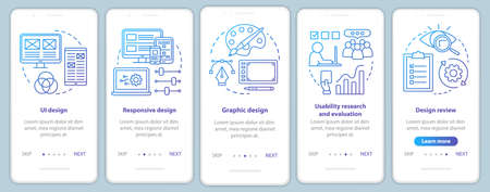 Software development onboarding mobile app page screen vector template. Application programming. Walkthrough website steps with linear illustrations. UX, UI, GUI smartphone interface concept