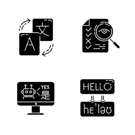 Machine translation service glyph icons set. Instant online translation. Multilingual chatbot. Artificial intelligence. Transcription and proofreading. Silhouette symbols. Vector isolated illustration Фото со стока