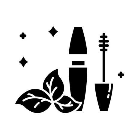 Natural mascara tube glyph icon. Eye makeup. Eyelash enhancement. Visage beauty aid item. Chemical free. Eco product. Organic cosmetics. Silhouette symbol. Negative space. Vector isolated illustration