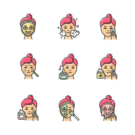 Skin care procedures color icons set. Spot treatment for acne and blackheads. Applying sunscreen. Mosturizing face cleanser. Thermal mask. Facial beauty routine. Isolated vector illustrations