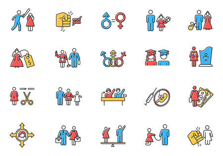 Gender equality color icons set. Woman, man right. Sexual slavery. Female economic activity. Transgender people. Employment, work. Female, male politics. Family planning. Isolated vector illustrations 스톡 콘텐츠