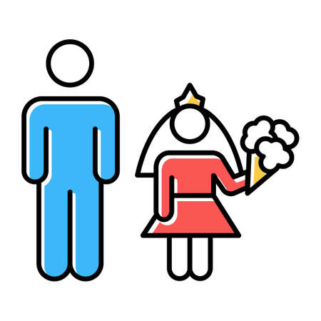 Child marriage color icons set. Girl and man, groom and bride. Forcible wedlock. Compulsory marriage. Female, male rights. Relationship with no consent. Criminal offense. Isolated vector illustrations