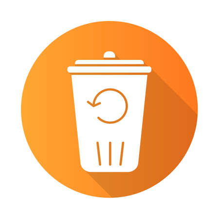 Recycling service orange flat design long shadow glyph icon. Converting waste materials. Garbage reuse. Trash bin. Reutilization. Eco friendly apartment amenities. Vector silhouette illustration