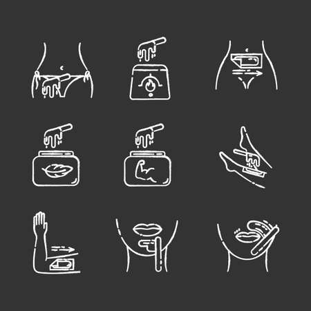 Waxing chalk icons set. Bikini, leg, upper lip, chin hair removal. Cold, hot wax in jar with spatula. Depilation equipment. Professional beauty cosmetics. Isolated vector chalkboard illustrations