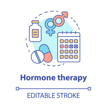 Hormone therapy concept icon. Pills idea thin line illustration. Medicine, medical treatment, birth control. Menopause, cancer, transgender medication. Vector isolated outline drawing. Editable stroke Banco de Imagens
