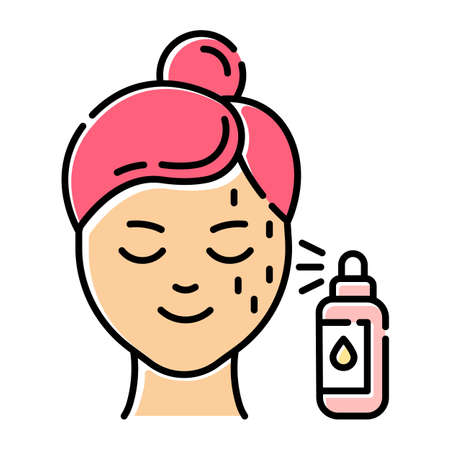 Beauty water color icon. Skin care procedure. Facial beauty treatment. Spray face product in bottle for moisturizing effect. Dermatology, cosmetics, makeup. Isolated vector illustration Archivio Fotografico - 133495621