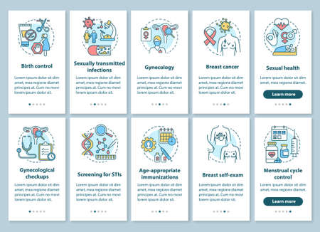 Women healthcare onboarding mobile app page screen with linear concepts. Gynecological disease prevention and checkups. Walkthrough steps graphic instructions. UX, UI, GUI vector template with icons 版權商用圖片