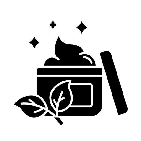 Natural face cream jar glyph icon. Skincare product. Paraben, chemical free. Facial hydrating lotion. Skin treatment. Organic cosmetics. Silhouette symbol. Negative space. Vector isolated illustration
