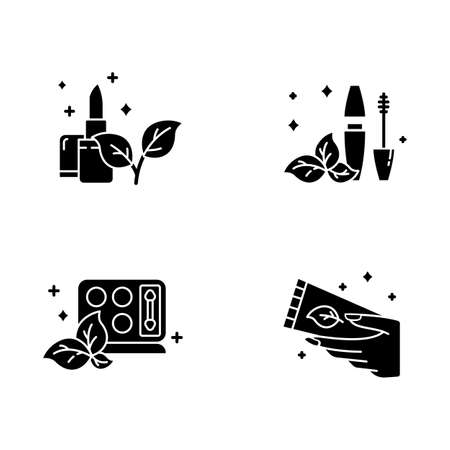 Organic cosmetics glyph icons set. Lipstick. Mascara tube. Eyeshadow palette. Hand cream, lotion. Skincare. Natural beauty products. Paraben free. Silhouette symbols. Vector isolated illustration Stock fotó