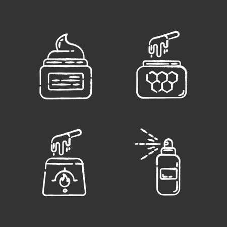 Waxing products chalk icons set. Hot, soft, honey wax in jar. Hair removal equipment. Body spray for depilation. Professional beauty treatment cosmetics. Isolated vector chalkboard illustrations Archivio Fotografico - 133495303