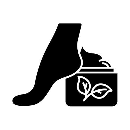 Foot cream jar glyph icon. Moisturizing lotion. Skincare product. Footcare. Paraben free. Dry skin solution. Organic cosmetics. Silhouette symbol. Negative space. Vector isolated illustration Banco de Imagens - 133495313