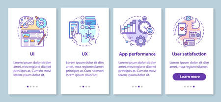 Software development onboarding mobile app page screen with linear concepts. UX designing, prototyping walkthrough steps graphic instructions. UX, UI, GUI vector template with illustrations