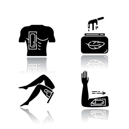 Soft waxing drop shadow black glyph icons set. Chest, leg, arm hair removal with strips. Wax in jar. Female body depilation. Professional beauty treatment cosmetics. Isolated vector illustrations Archivio Fotografico - 133495714