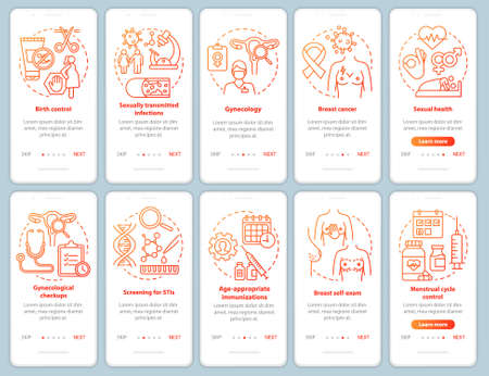 Women healthcare red onboarding mobile app page screen vector template. Gynecological disease prevention and checkups. Walkthrough website with linear icons. UX, UI, GUI smartphone interface concept 版權商用圖片
