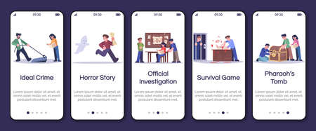 Quest room type onboarding mobile app screen vector template. Ideal crime, horror story, survival game. Walkthrough website steps with flat characters. UX, UI, GUI smartphone cartoon interface concept
