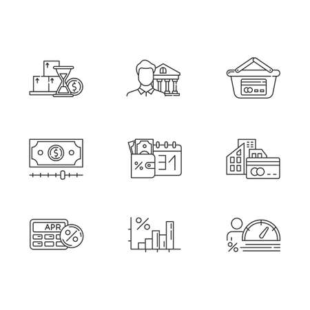 Credit linear icons set. Small business loan. Annual percentage rate calculator. Income increase infographic. Thin line contour symbols. Isolated vector outline illustrations. Editable stroke