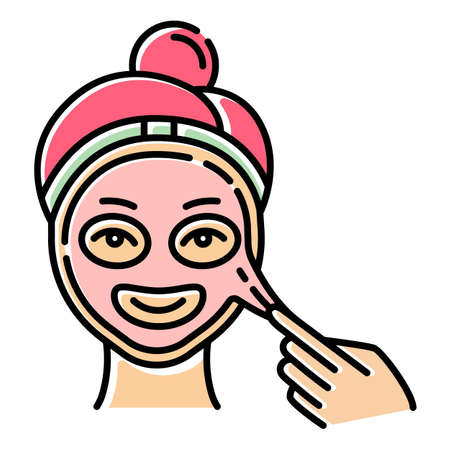 Applying peel-off mask color icon. Skin care procedure. Facial beauty treatment. Face product for lifting and exfoliating effect. Dermatology, cosmetics, makeup. Isolated vector illustration