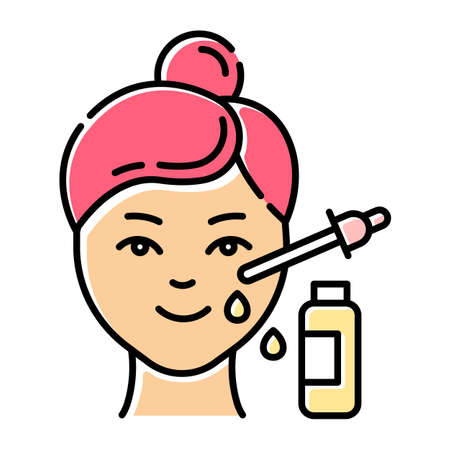 Using serum color icon. Skin care procedure. Facial beauty treatment. Lifting and exfoliating effect. Oil product for skin. Dermatology, cosmetics, makeup. Isolated vector illustration