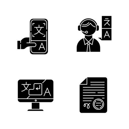 Translation glyph icons set. Human interpretation, apostilles and document legalization. Dictionary mobile application. Instant translator desktop app. Silhouette symbols. Vector isolated illustration