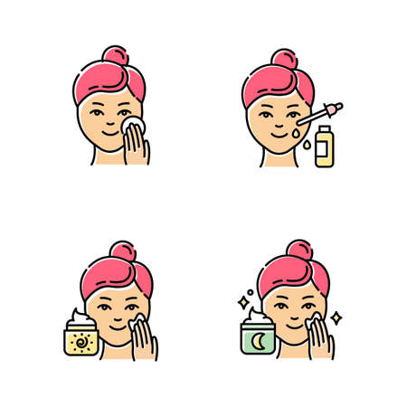 Skin care procedures color icons set. Applying night sleeping cream. Using facial serum. Sunscreen on face. Moisturizing, cleansing skin. Female beauty routine steps. Isolated vector illustrations Stockfoto