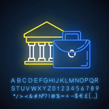 Business industry neon light icon. Credit bureau. Black briefcase and bank building. Economist, finances. Glowing sign with alphabet, numbers and symbols. Vector isolated illustration