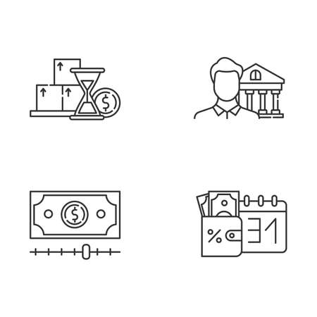 Credit linear icons set. Monthly icome increase report. Personal loan. Credit manager. Budget chart. Cash advance. Thin line contour symbols. Isolated vector outline illustrations. Editable stroke