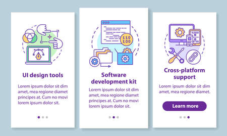 Software development onboarding mobile app page screen with linear concepts. UI design, cross-platform support walkthrough 3 steps graphic instructions. UX, UI, GUI vector template with illustrations 版權商用圖片