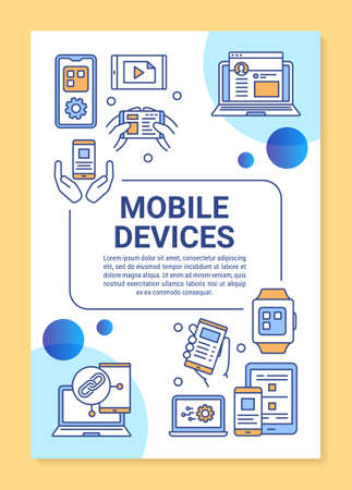 Mobile devices poster template layout. Smartphone and tablet. Mobile app development. Banner, booklet, leaflet print design, linear icons. Vector brochure page layout for magazines, advertising flyers 版權商用圖片