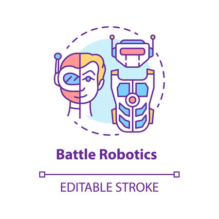 Battle robotics concept icon. Transformers idea thin line illustration. Types of robots, classification. Computer machine combat, fighting. Vector isolated outline drawing. Editable stroke