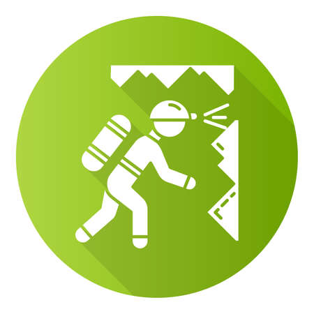 Spelunking green flat design long shadow glyph icon. Caving, potholing. Exploring underground caverns. Equipped spelunker, caver. Walking, climbing in caves. Vector silhouette illustration