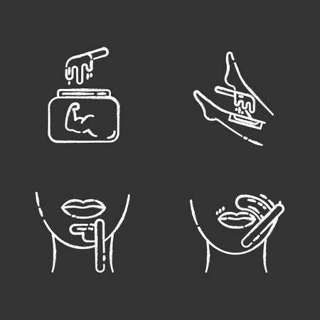 Hard waxing chalk icons set. Shin, chin, upper lip hair removal. Cold wax in jar. Facial, body hair depilation. Professional beauty treatment cosmetics. Isolated vector chalkboard illustrations Stockfoto