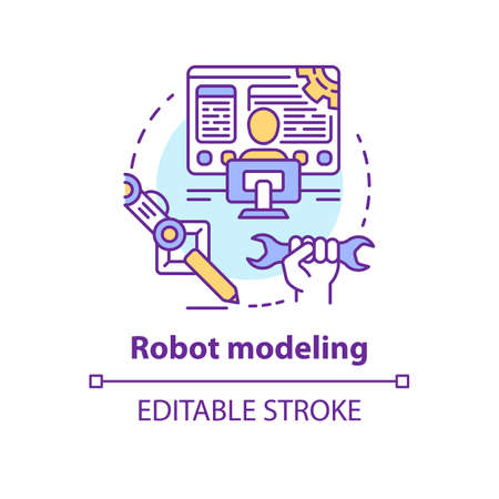 Robot modeling concept icon. Creating computers idea thin line illustration. Making design of electronics, devices. Developing robotics. Vector isolated outline drawing. Editable stroke Фото со стока