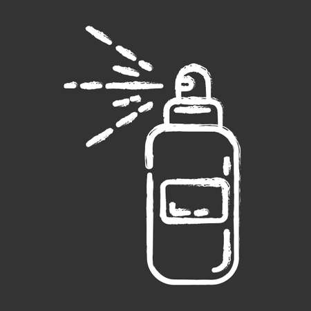 Body spray bottle chalk icon. Depilation, waxing aftercare moisturizing product. Natural, organic skin care. Professional beauty treatment cosmetics. Isolated vector chalkboard illustration Stock fotó