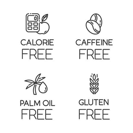 Product free ingredient linear icons set. No calories, caffeine, palm oil, gluten. Organic food. Low calories meals. Thin line contour symbols. Isolated vector outline illustrations. Editable stroke
