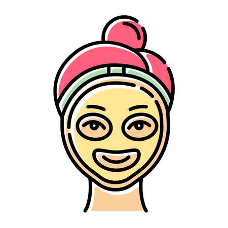 Vitamin C mask color icon. Skin care procedure. Facial beauty treatment. Using liquid mask. Exfoliating and moisturizing effect. Dermatology, cosmetics, makeup. Isolated vector illustration