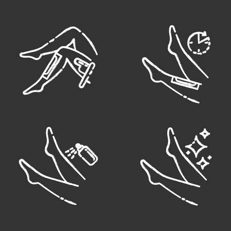 Leg waxing beige chalk icons set. Shin hair removal with natural cold, hot wax process. Female body depilation steps. Professional beauty treatment at home. Isolated vector chalkboard illustrations