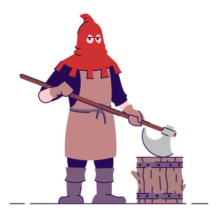 Medieval executioner flat vector illustration. Historical headsman with axe wearing red mask isolated cartoon character with outline elements on white background. Middle age personage