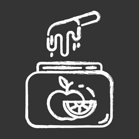 Fruit waxing chalk icon. Natural, soft, cold wax in jar with spatula. Hair removal equipment. Tools for depilation. Professional beauty treatment cosmetics. Isolated vector chalkboard illustration Stock fotó