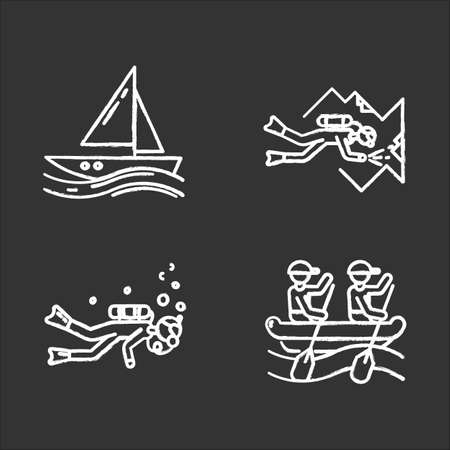 Watersports chalk icons set. Cave diving, sailing and rafting. Extreme kinds of sport. Summer vacation, adventure and hobby, beach activities. Isolated vector chalkboard illustrations