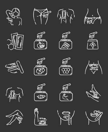 Body waxing chalk icons set. Female facial hair removal procedure. Wax in jar with spatula. Depilation equipment. Professional beauty treatment cosmetics. Isolated vector chalkboard illustrations Stockfoto
